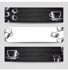 Coffee and tea horizontal banners vector image