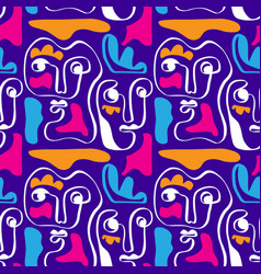 colored modern abstract faces seamless pattern vector image