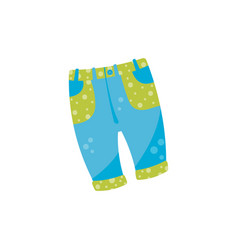 Cute baby denim pants with button and green vector