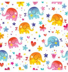 cute elephants seamless pattern vector image