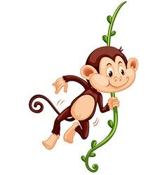 Cute monkey climbing up vine vector