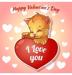 Cute red kitten with hearts for valentines day vector