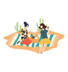 female friends on picnic in park drinking wine vector image