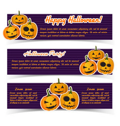 festive halloween holiday horizontal banners vector image