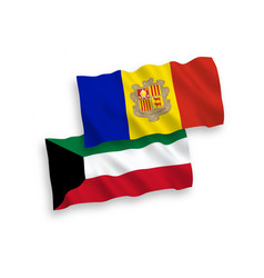 Flags andorra and kuwait on a white background vector