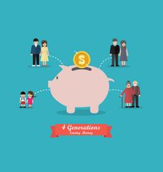 four generations saving money vector image