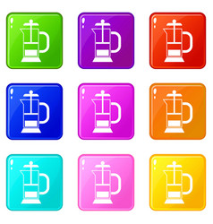 French press coffee maker icons 9 set vector