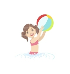 Girl Playing Air Ball In Water vector