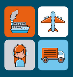 global logistic icons set cartoon vector image