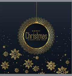 golden snowflakes dark background design vector image