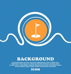 Golf icon sign Blue and white abstract background vector image
