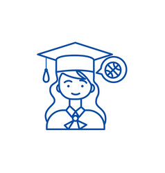 graduation girl line icon concept graduation girl vector image