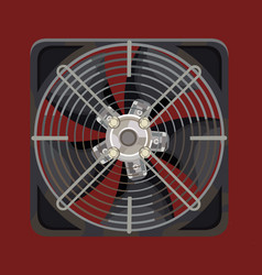 Grey cooling system fan behind metal bars vector