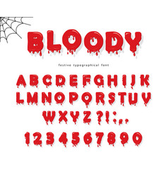Halloween blood font abc bright red liquid vector