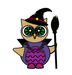 Halloween owl sorceress art face isolate on vector
