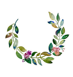 Handmade circle wreath watercolor branch with vector