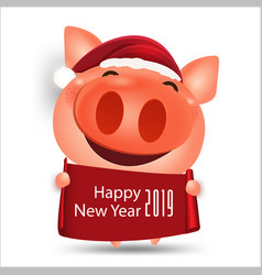 Happy chinese new year 2019 pig cartoon isolated vector