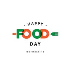 Happy food day logo template design vector