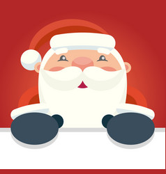 happy santa claus holds a placard vector image