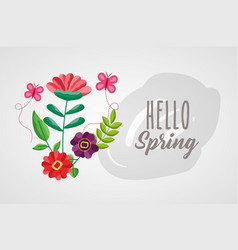 Hello spring poster with floral decoration vector