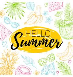 hello summer card poster with text tropic leaf vector image