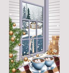 hot chocolate drinks christmas background vector image