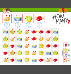 How many robots counting game for kids vector