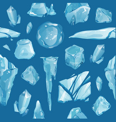 Ice caps debris snowdrifts seamless pattern vector