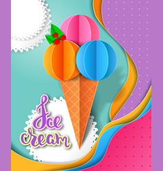 ice cream design paper cut layers vector image