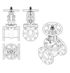 Industrial valve outline rendering of 3d vector