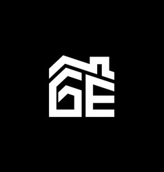 initial letter g and e with roreal estate vector image