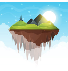 Island cartoon mountain and sun vector