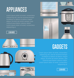Kitchen electronic appliances and gadgets posters vector
