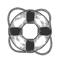 Life buoy sketch engraving style vector