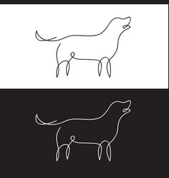 line design silhouette of dog on white background vector image