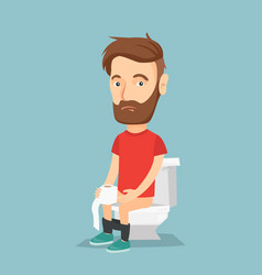 man suffering from diarrhea or constipation vector image