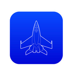 Military jet icon blue vector