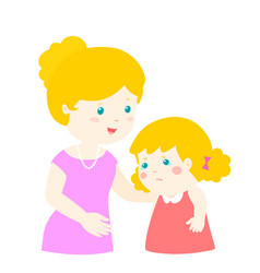 mother soothes crying daughter vector image