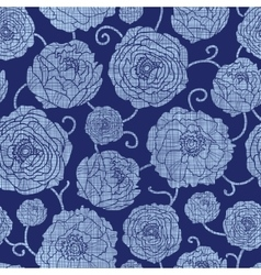 Navy Textile Peonies Light Flowers Seamless vector image