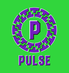 Optical illusion pulse logo in round moving frame vector