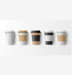 Paper coffee cup mockup template vector