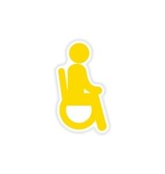 Paper sticker man in wheelchair on white vector
