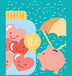 Piggy with parachute and jar hearts love charity vector