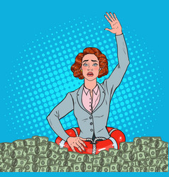 Pop art successful woman sinking in money vector