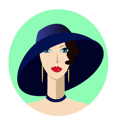 Portrait art deco woman in wide-brimmed hat vector