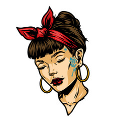 Pretty tattooed woman face vector