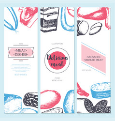 processed meat - hand drawn template banner vector image
