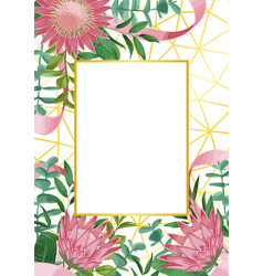 Romantic template with protea and greenery vector