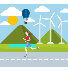 Running woman outdoors vector image