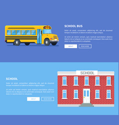 school bus and building set of posters vector image